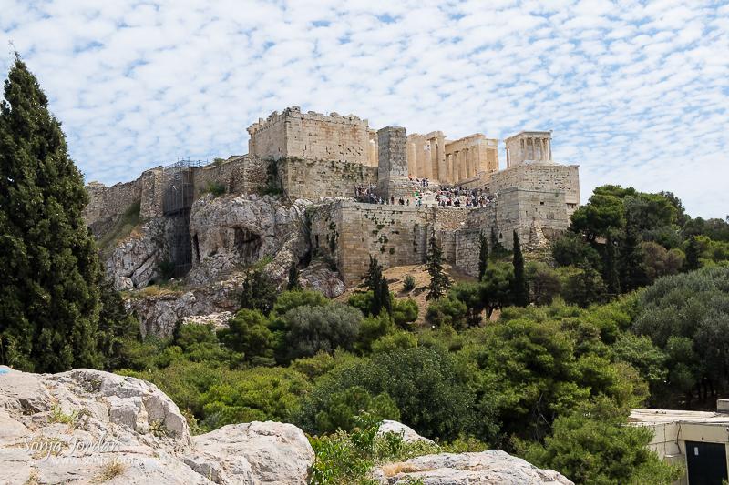 Blick vom Areopag Hügel auf die Akropolis, Athen, Griechenland