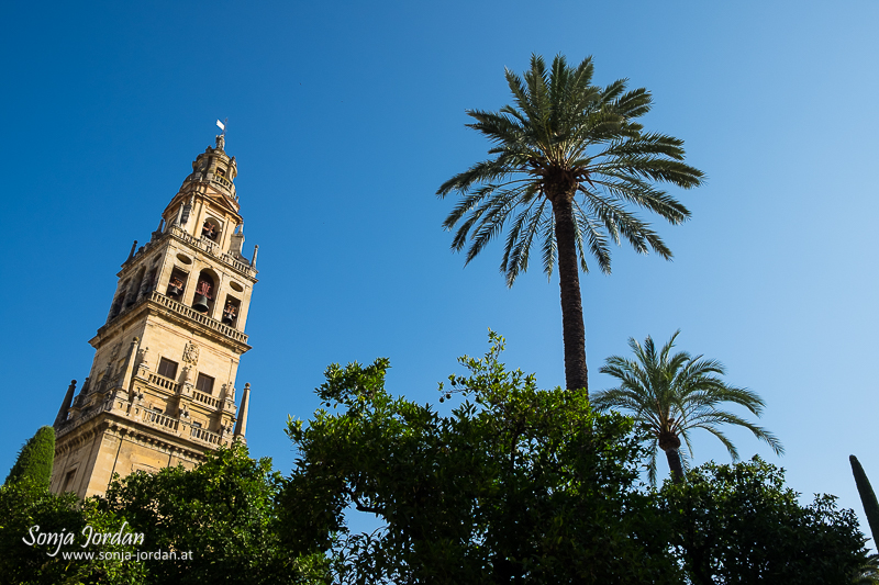 Bell tower of the minaret at Patio de los Naranjos (Orange Tree Courtyard). Mezquita, Cordoba, Andalusia, Spain