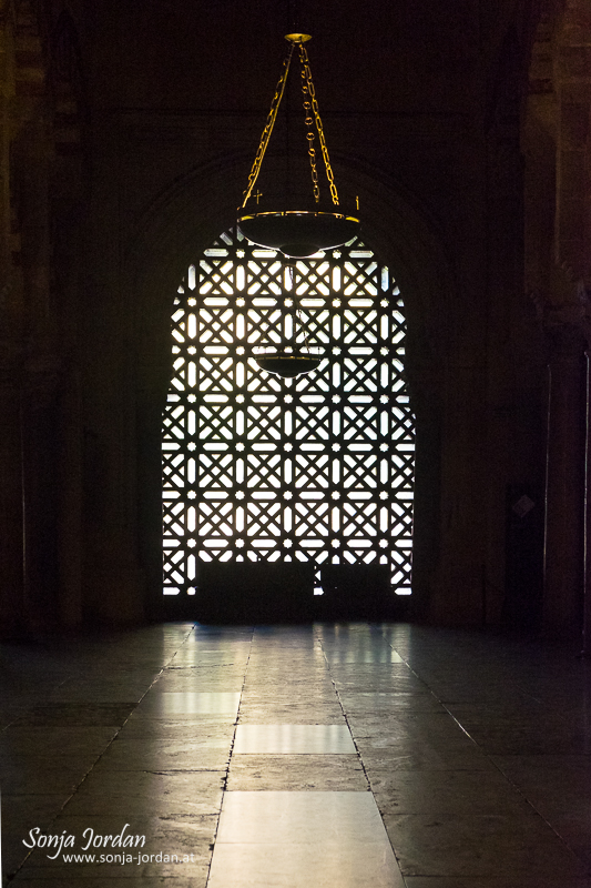 Islamic style window, Cathedral–Mosque of Cordoba, Mezquita, interior view, Cordoba, Andalusia, Spain