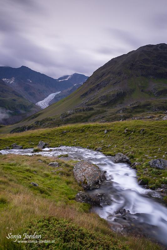Rifflbach mit Gespatschgletscher, Kaunertal, Kaunertaler Gletscherstraße, Panoramastraße, Tirol, Österreich