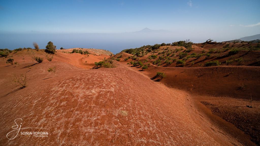 Wir durchwandern die dünenartige Landschaft mit der roten Erde.